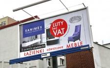 Billboardy i bannery kampanii LUTY bez VAT salonów Sanimex