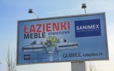 """Billboard salonu """"Sanimex"""" kampanii reklamowej asortymentu łazienek"""