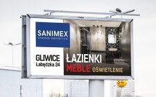 """Billboard salonu """"Sanimex"""" kampanii reklamowej nowych łazienek"""