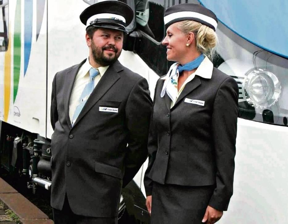 Przykład: służbowe uniformy u obsługi pociągów Kolei Śląskich