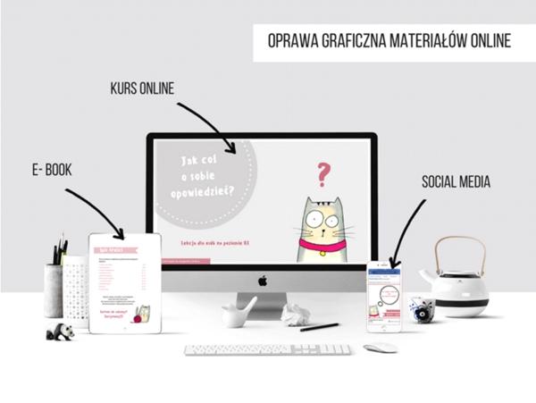 Przykład wykorzystania Brand Hero – w tym przypadku Kota Gieńka z Chitchat&cat angielski online.